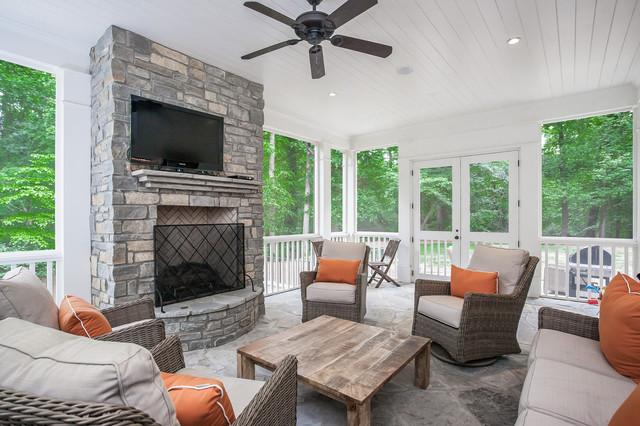 客厅灰色背景墙美式风格装潢设计图片