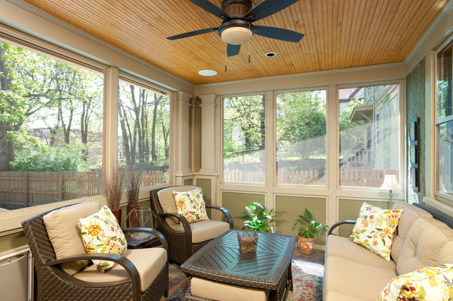 Campbell craftsman screened porch traditional porch for Craftsman screened porch