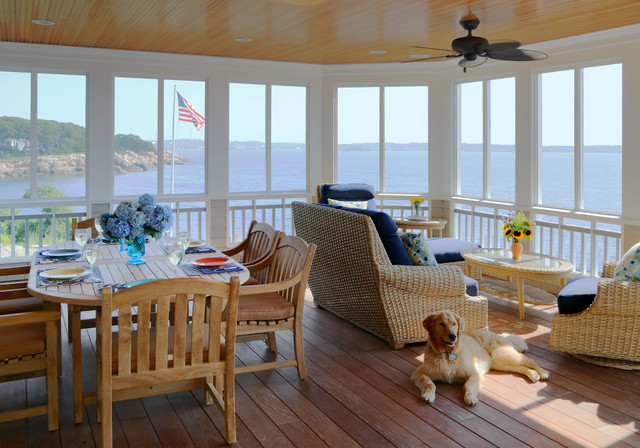 Coastal Screened In Porch Photo Boston With Decking And A Roof Extension