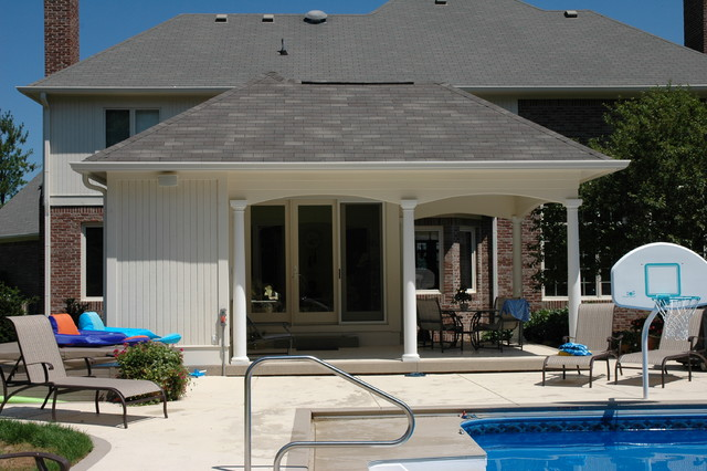 Carmel sunroom pool house addition traditional porch for Pool house additions