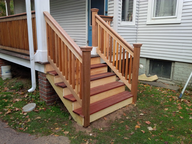 Cedar Amp Mahogany Porch Stairs Traditional Porch