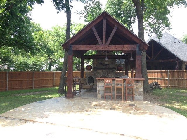 Cedar Pavilion Outdoor Kitchen And Fireplace