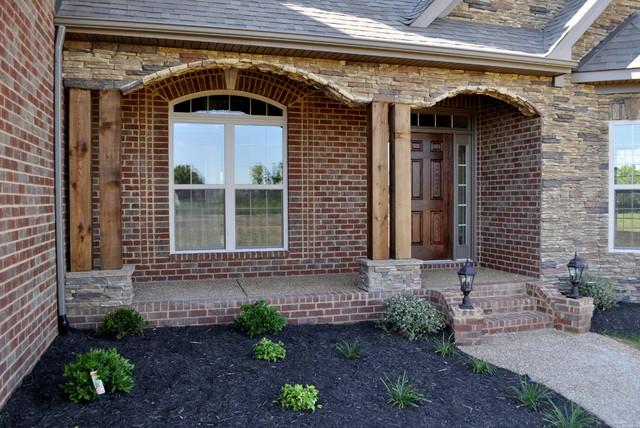 Cedar Post And Stone Front Porch Traditional Veranda