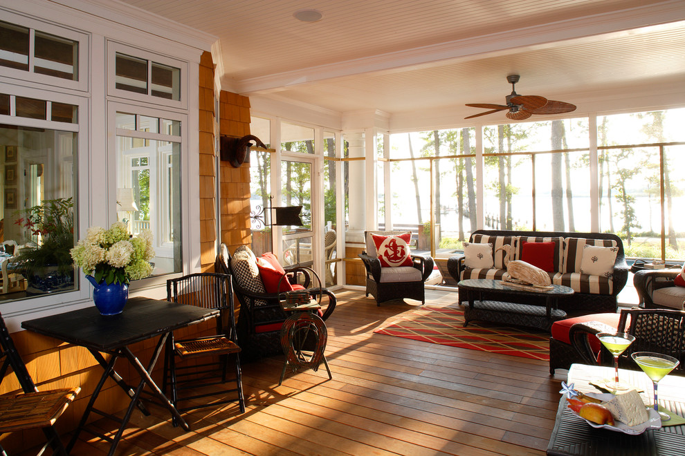 Inspiration for a large coastal porch remodel in Philadelphia with decking and a roof extension