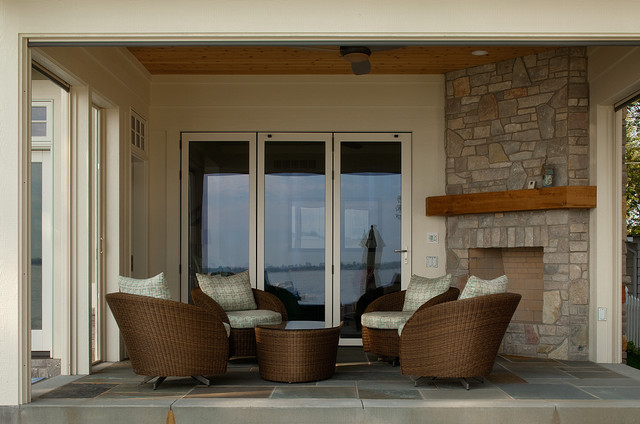 Porch with retractable screens traditional-porch