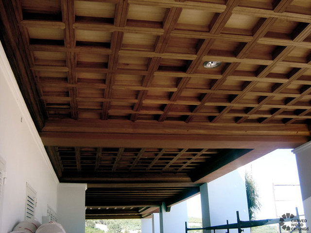 Coffered Ceiling Mediterranean Porch New York By