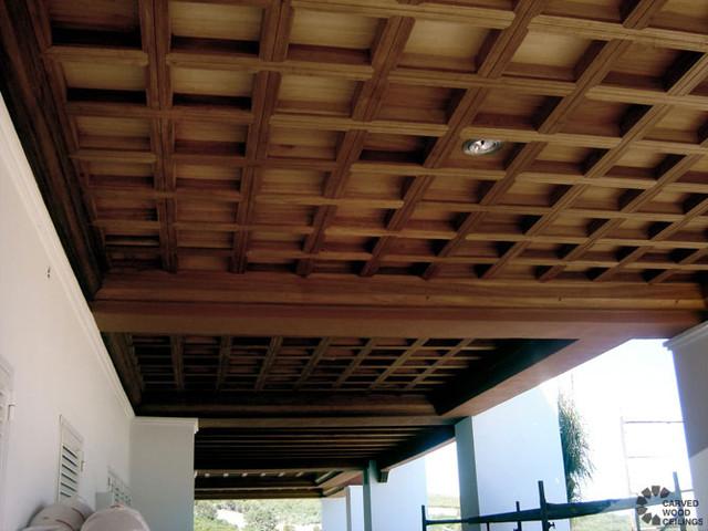 Coffered Ceiling Mediterranean Porch New York By