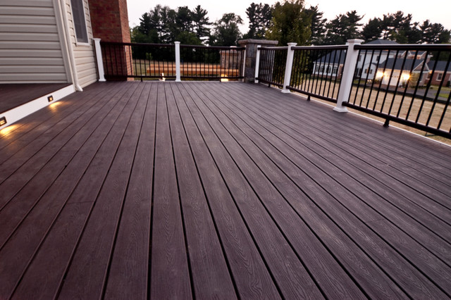 Composite decking detail porch baltimore by for Garden decking for sale