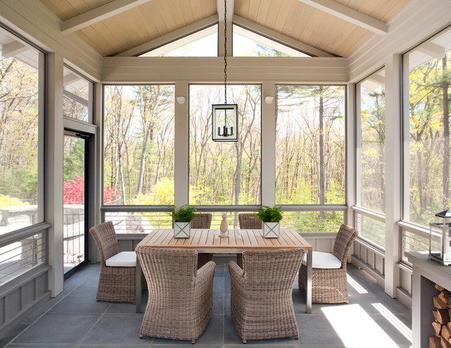 Contemporary farmhouse farmhouse porch boston by for Breezeway screen room