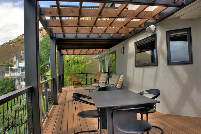 Contemporary steel and wood stair deck   contemporary   veranda ...