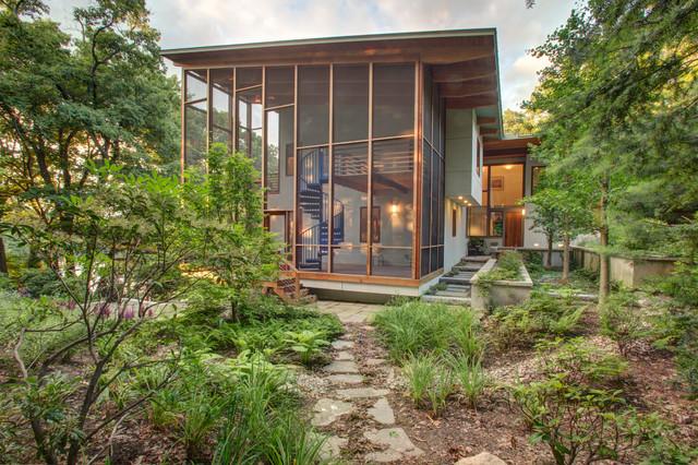 Contemporary woodland contemporary exterior for Modern screened porch