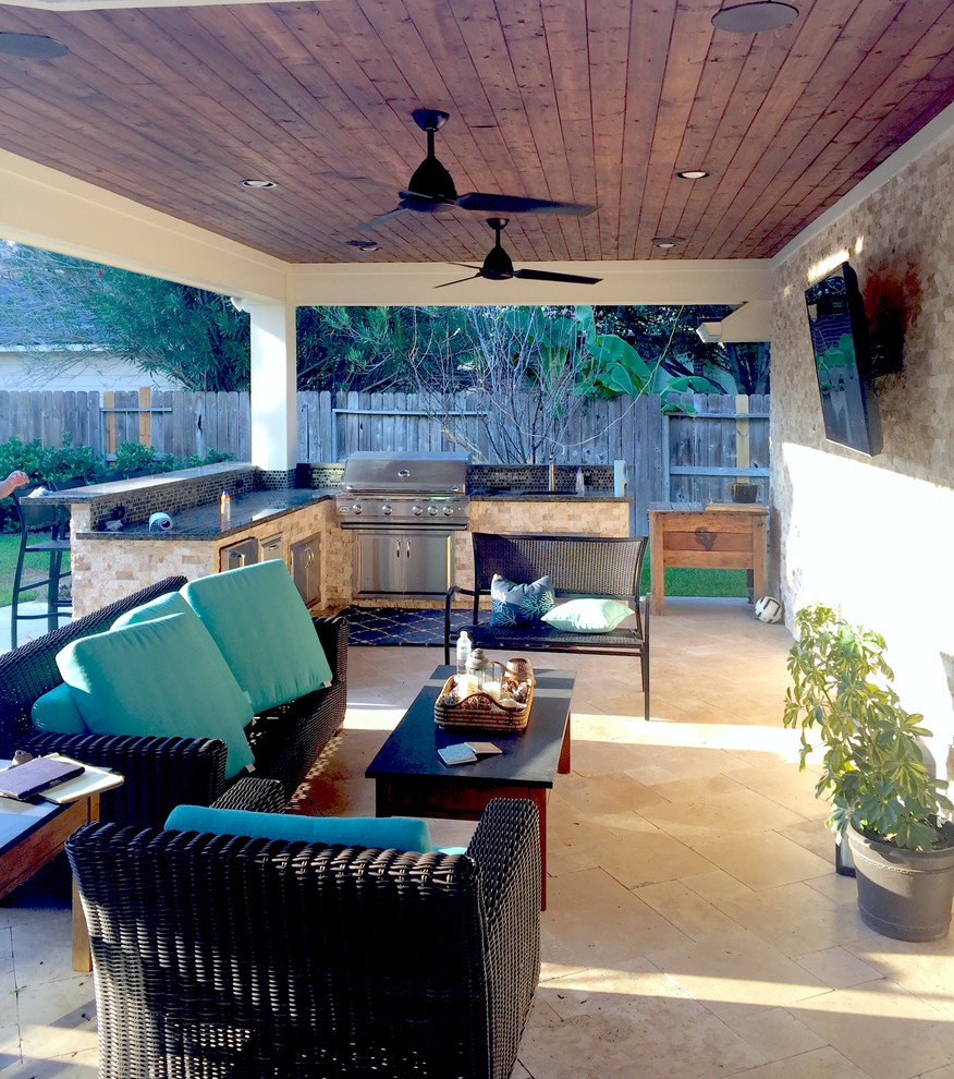 Costa Del Rey Back Porch Pavilion And Outdoor Kitchen Transitional Porch Houston By Welldone Building Projects