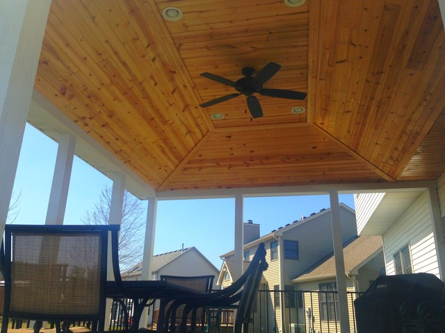 Covered Deck With Vaulted Ceiling Traditional Porch
