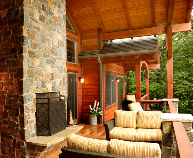 Covered porch outdoor living space rustic porch - Covered outdoor living spaces ...