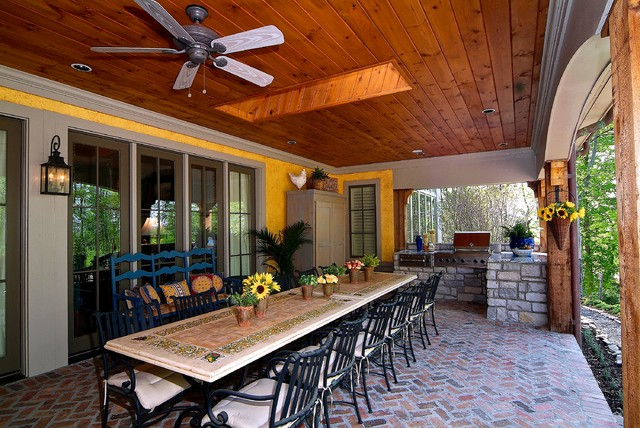 Covered Porch With Built In Grill