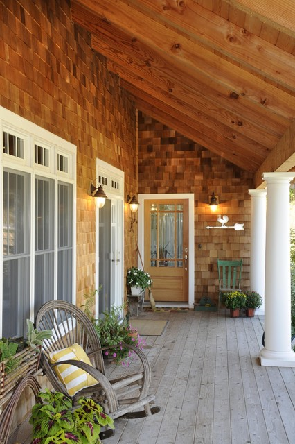 Covered Porch With Cedar Shakes Rustic Porch Other