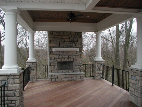 Covered Porch With Stone Fireplace Traditional Porch