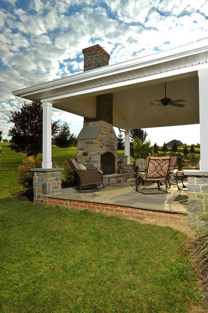 Covered Porch With Stone Hearth, Fireplace And Attached Deck  Contemporary Porch