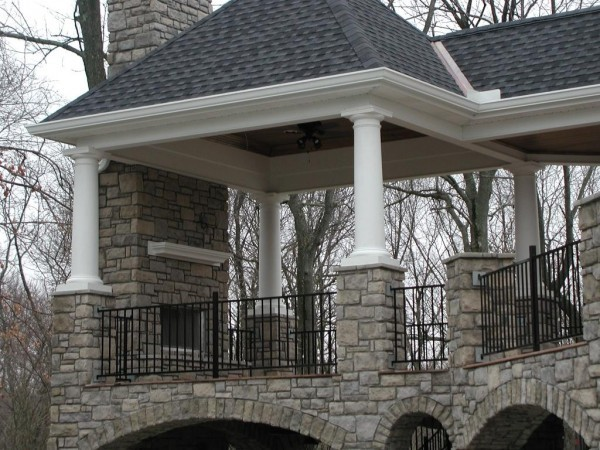 Covered Porch With Unique Stone Arches