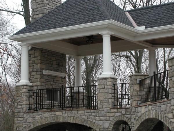 Covered Porch With Unique Stone Arches