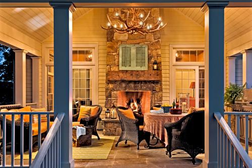 antler chandelier in traditinal design porch