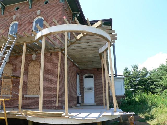 Curved Porch Ceiling Framing American Traditional Veranda