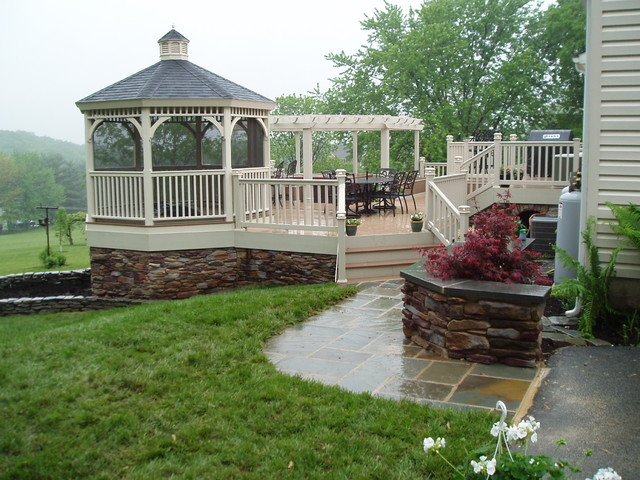 Custom decks traditional porch baltimore by for Deck with gazebo