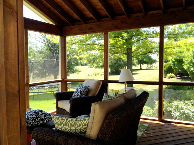 Custom Designed Screen Porch Patio And Fire Pit American Traditional Veranda Chicago By Archadeck Of Chicagoland Houzz