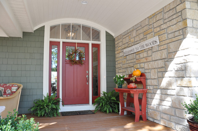 This Is An Example Of A Traditional Front Porch Design In Other With Decking And