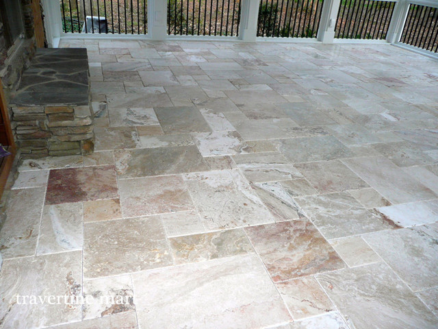 Da Vinci Travertine Tile Traditional Porch