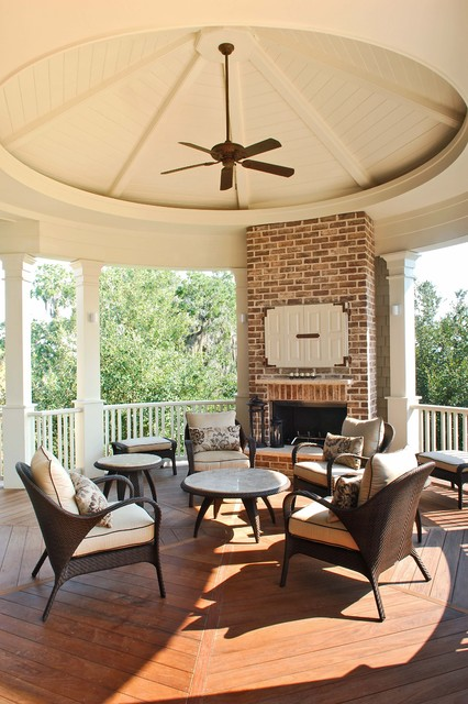 Porch & Fireplace traditional-porch