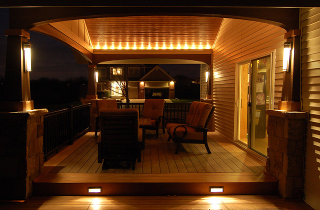 Deck and covered porch for Covered patio lighting ideas