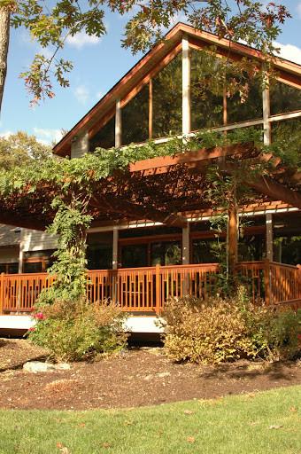 Deck House Mahogany Deck with Trellis contemporary-porch