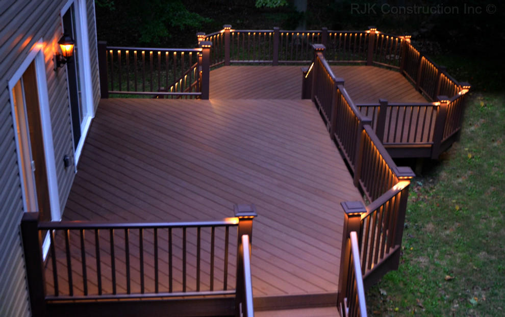 Deck With Rail Lighting Traditional