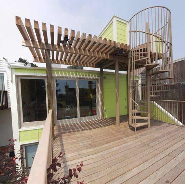 Deck with spiral stairs up to observation deck for House plans with observation deck