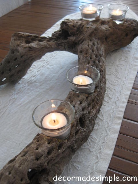 Desert Wood Votive Candle Holder Eclectic Porch