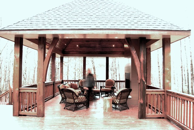 Detached porch with lake view fireplace for Detached screened porch
