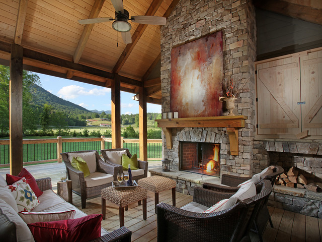 dragonfly lodge contemporary porch - Contemporary Rustic Homes