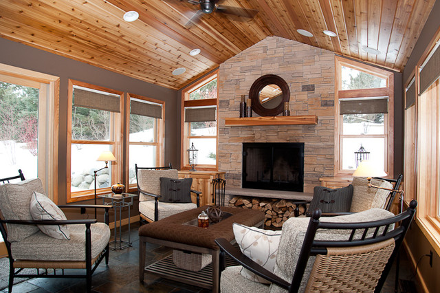 Eagan four season addition rustic porch minneapolis for Four season porch plans