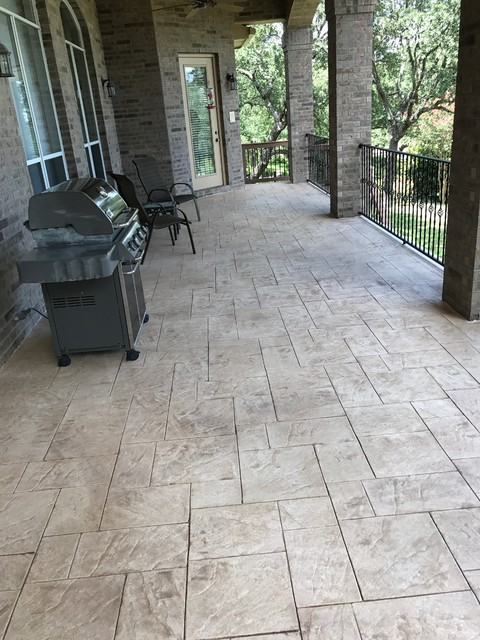 Elegant Stamped Stained Decorative Concrete Overlay San