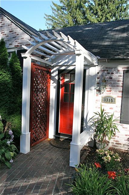 Front door arbor amanda rapp design in progress exterior for Fypon pvc trellis system