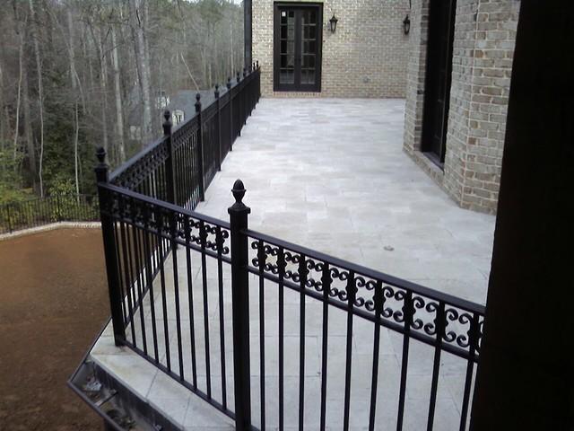 Exterior wrought iron handrail railing mediterranean porch atlanta by womack iron for Wrought iron balcony railings exterior