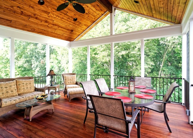 Screen porches rustic porch dc metro by core for Rustic porches and decks