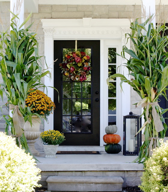Fall decor traditional porch detroit by the yellow - Fall porch decorating ideas ...
