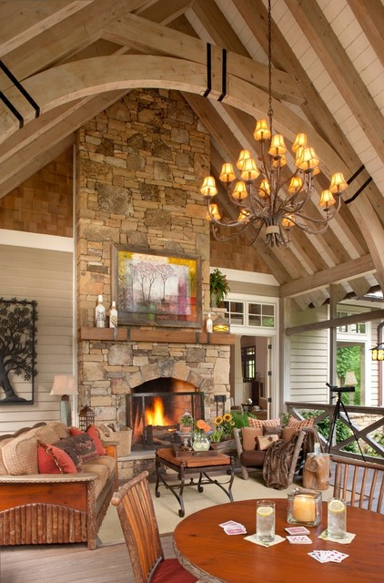 Family Friendly Mountain Retreat traditional-porch