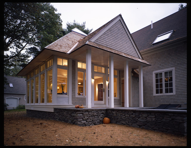 Family room and porch addition eclectic-exterior