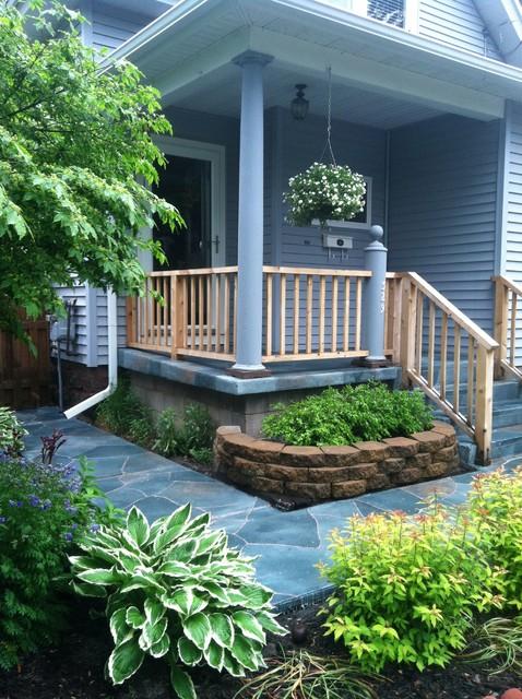 Flag Stone Pattern on Porch & Sidewalk traditional-porch