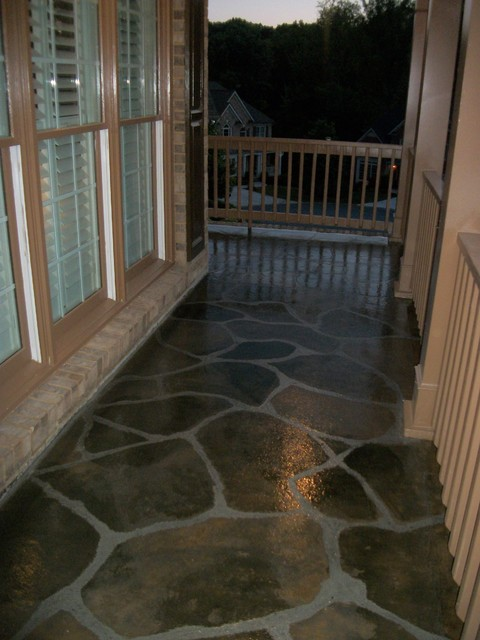 Flagstone Pattern Front Patio Contemporary Porch