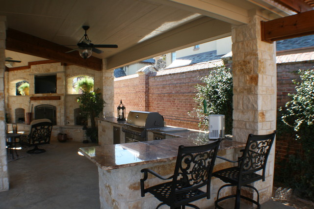 Fort Worth Covered Patio With Pergola Outdoor Kitchen And Outdoor Fireplace  Traditional Porch