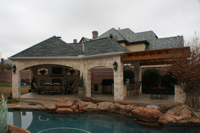fort worth covered patio with pergola outdoor kitchen and outdoor